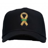 Army Support Ribbon Embroidered Cap - Black