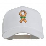 Army Support Ribbon Embroidered Cap - White
