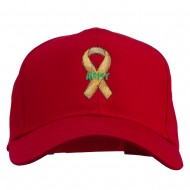 Army Support Ribbon Embroidered Cap - Red