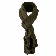 Ruffle End Knitted Acrylic Scarf - Taupe