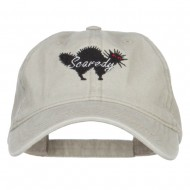 Scaredy Cat Embroidered Washed Cap - Stone