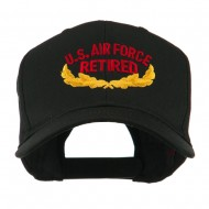US Air Force Retired Emblem Embroidered Cap - Black
