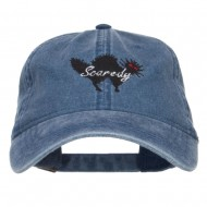Scaredy Cat Embroidered Washed Cap - Navy