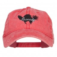 Scaredy Cat Embroidered Washed Cap - Red