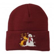 Reindeer and Snowman Embroidered Cuff Beanie - Maroon