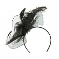 Feather and Flower Ruffle Fascinator - Black