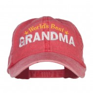 World's Best Grandma Embroidered Washed Cap - Red