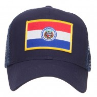 Missouri State Flag Patched Mesh Cap - Navy