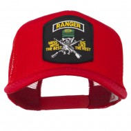 US Army Ranger Patched Mesh Back Cap - Red