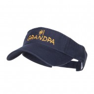 Number 1 Grandpa Embroidered Cotton Washed Visor - Navy