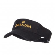 Number 1 Grandpa Embroidered Cotton Washed Visor - Black