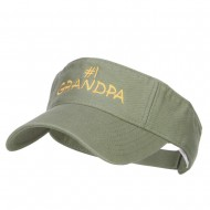 Number 1 Grandpa Embroidered Cotton Washed Visor - Olive