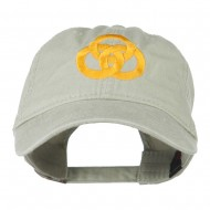 3 Rings Connected Embroidered Cap - Khaki