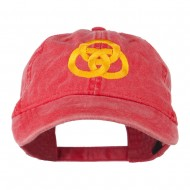 3 Rings Connected Embroidered Cap - Red