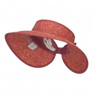 Paper Braid Roll Up Visor - Red