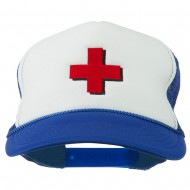 Red Cross Logo Embroidered Foam Mesh Cap - Royal White