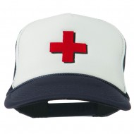 Red Cross Logo Embroidered Foam Mesh Cap - Navy White