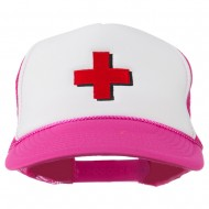 Red Cross Logo Embroidered Foam Mesh Cap - Hot Pink White