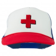 Red Cross Logo Embroidered Foam Mesh Cap - Red White Royal