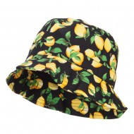Women's Fruit Motif Bucket Hat - Lemon Black