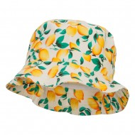 Women's Fruit Motif Bucket Hat - Lemon White
