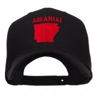 Arkansas State Map Embroidered Cap - Black