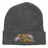 Spirit of Christmas Embroidered Long Beanie - Dk Grey