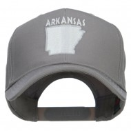 Arkansas State Map Embroidered Cap - Grey