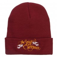 Spirit of Christmas Embroidered Long Beanie - Maroon