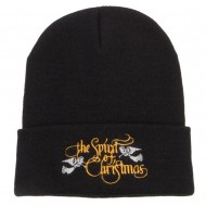 Spirit of Christmas Embroidered Long Beanie - Black