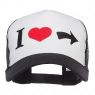 I Heart Right Embroidered 5 Panel Mesh Cap - White Black