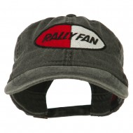 Rally Fan Race Badge Embroidered Washed Cap - Black