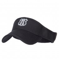 US Route 66 Embroidered Cotton Twill Visor - Black