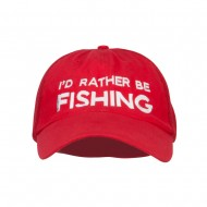 I'd Rather Be Fishing Embroidered Big Mesh Cap - Red