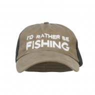 I'd Rather Be Fishing Embroidered Big Mesh Cap - Olive Green