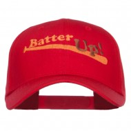 Batter Up Embroidered Low Profile Cap - Red