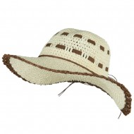 Women's Toyo Braid Ribbon Woven Hat - Cream