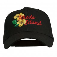 USA State Rhode Island Violet Embroidered Low Profile Cap - Black