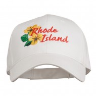 USA State Rhode Island Violet Embroidered Low Profile Cap - White