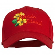 USA State Rhode Island Violet Embroidered Low Profile Cap - Red