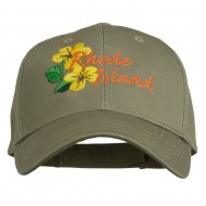 USA State Rhode Island Violet Embroidered Low Profile Cap - Olive