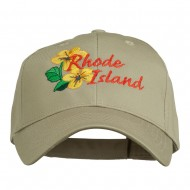 USA State Rhode Island Violet Embroidered Low Profile Cap - Khaki