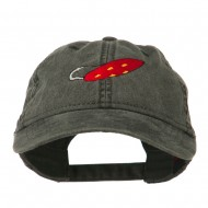 Fishing Red Walleye Lure Embroidered Washed Cap - Black