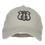US Route 66 Embroidered Washed Cap - Stone
