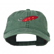 Fishing Red Walleye Lure Embroidered Washed Cap - Dark Green