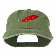 Fishing Red Walleye Lure Embroidered Washed Cap - Olive Green