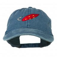 Fishing Red Walleye Lure Embroidered Washed Cap - Navy