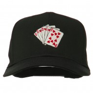 Royal Flush Embroidered Cotton Twill Cap - Black