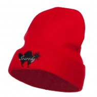 Halloween Scaredy Cat Embroidered Long Beanie - Red