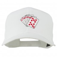 Royal Flush Embroidered Cotton Twill Cap - White